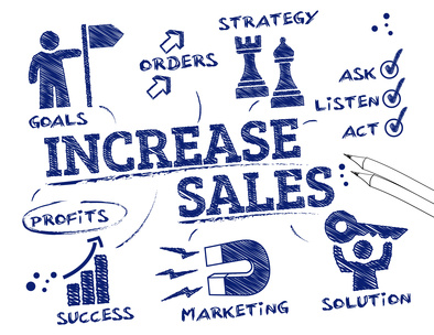 Increase sales. Chart with keywords and icons
